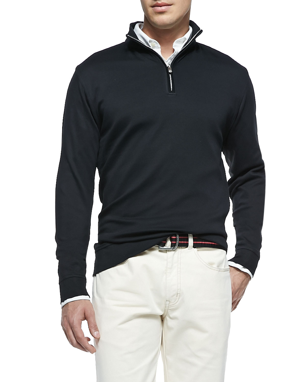 peter millar cotton 1 2 zip pullover in black for men lyst. Black Bedroom Furniture Sets. Home Design Ideas