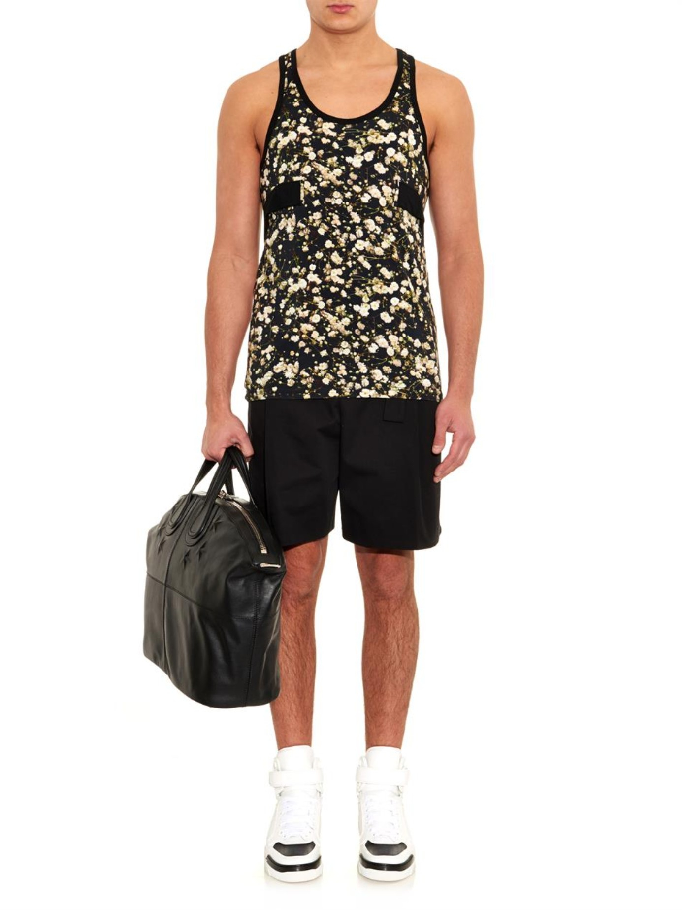 345e2c22bad9a Lyst - Givenchy Floral-Print Jersey Tank Top in Black for Men