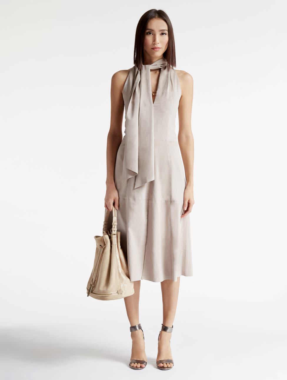 Halston Ultrasuede Dress In Natural Lyst