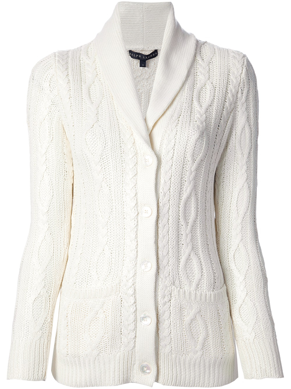 Ralph lauren black label Cable Knit Cardigan in White | Lyst