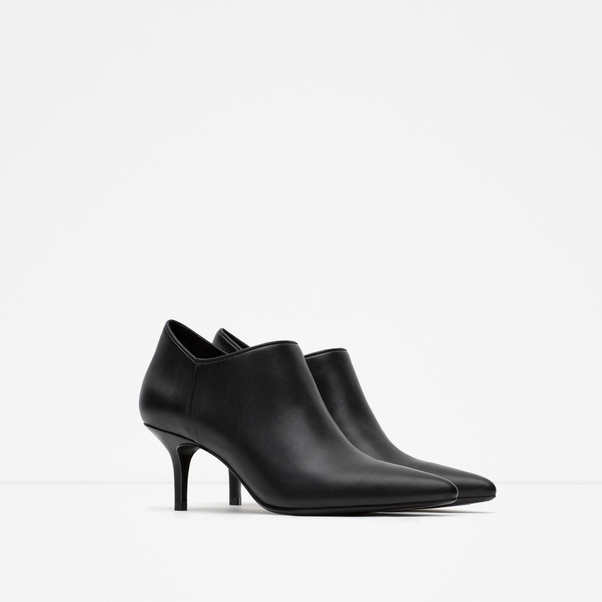 Zara Mid-heel Ankle Boots in Black | Lyst
