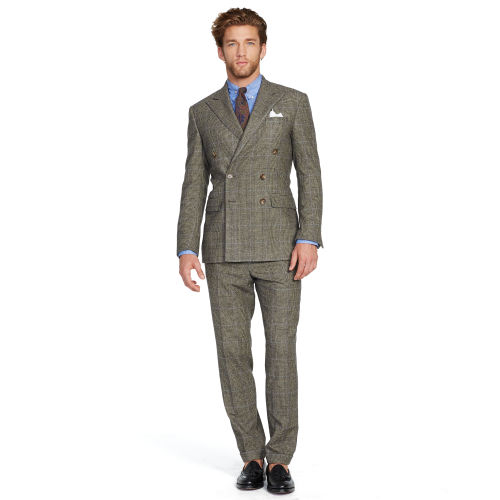 Polo ralph lauren Doublebreasted Wool Suit in Black for Men | Lyst