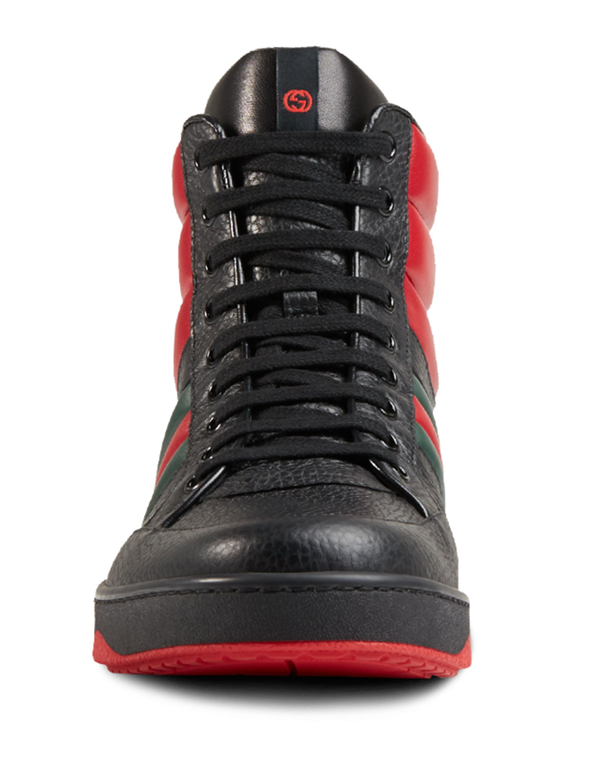 fbffc25ebfb Lyst - Gucci Contrast Padded Leather High-top Sneaker in Red for Men