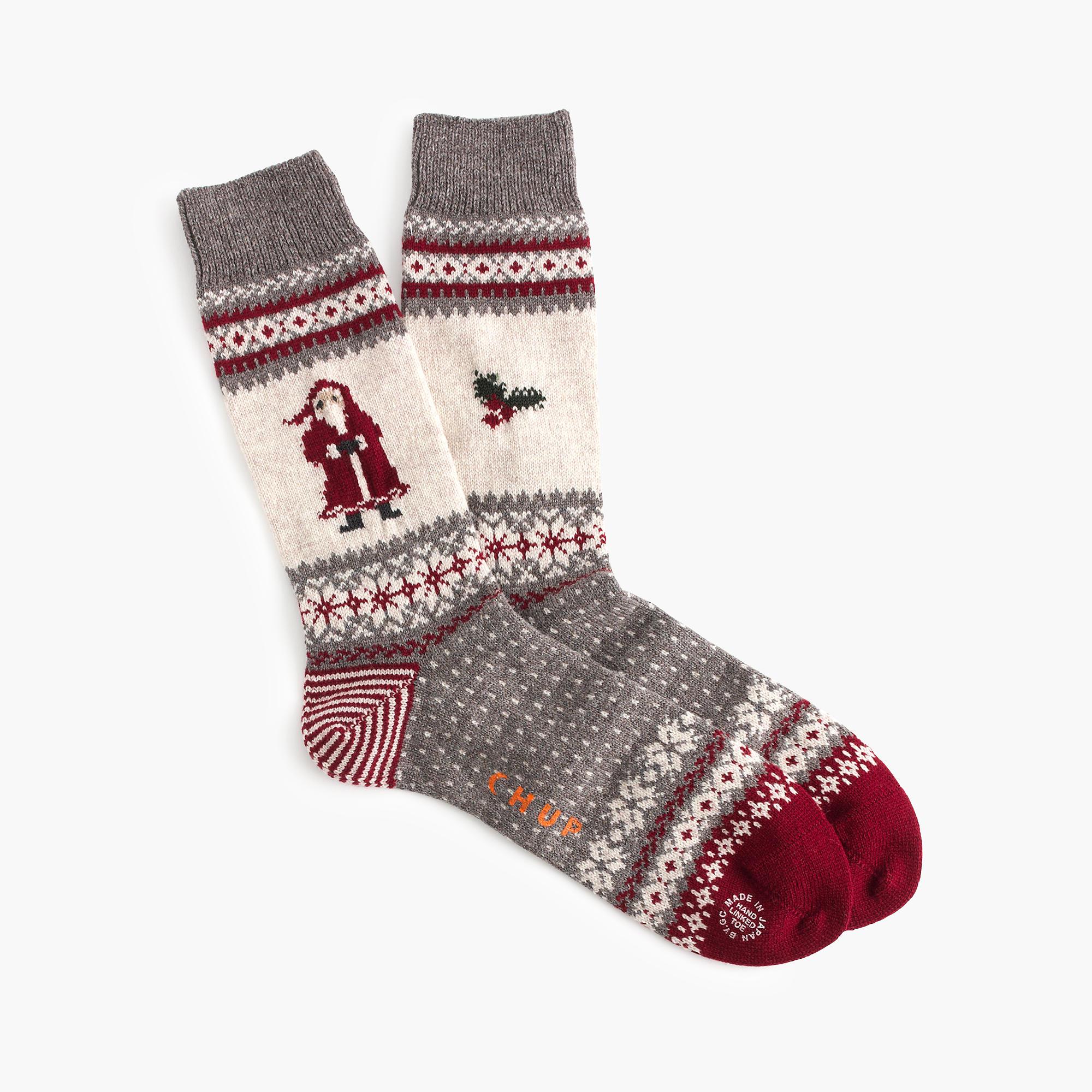 J Crew Chup Santa Socks In Gray Lyst