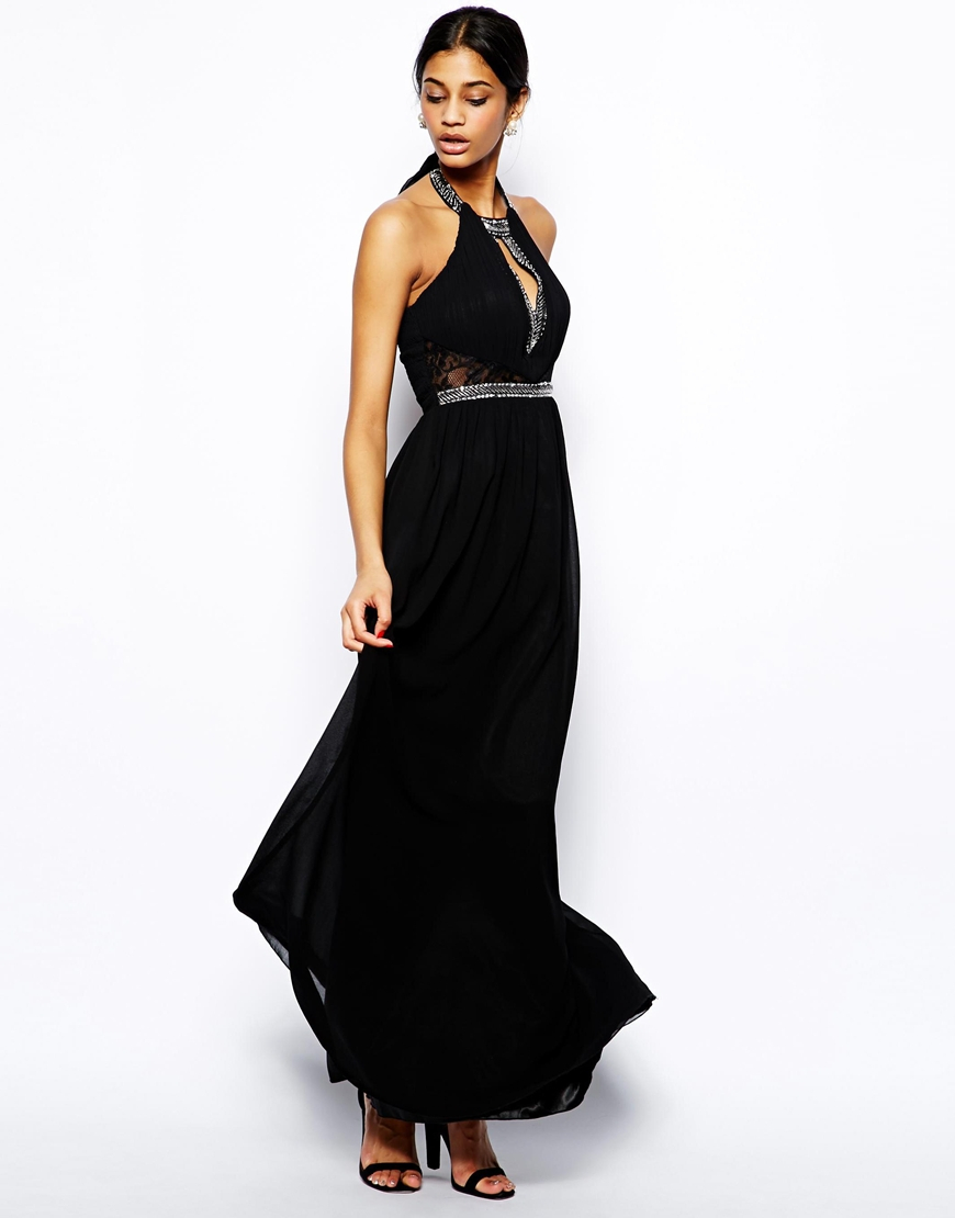 Little Mistress High Neck Maxi Dress With Embellished Neck