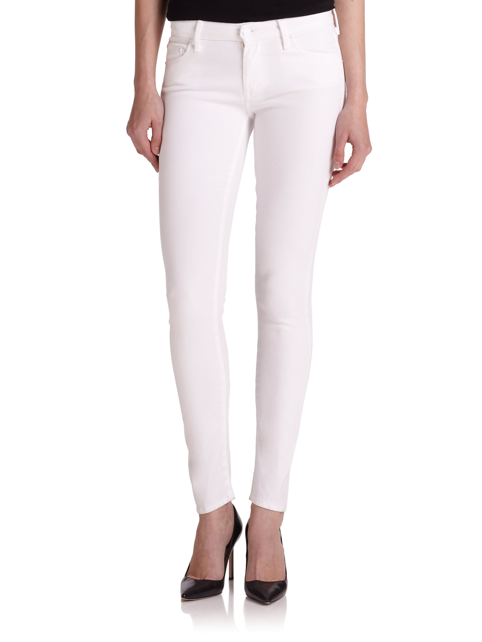 e9a6e87bef3fd Lyst - Mother The Looker Skinny Jeans in White