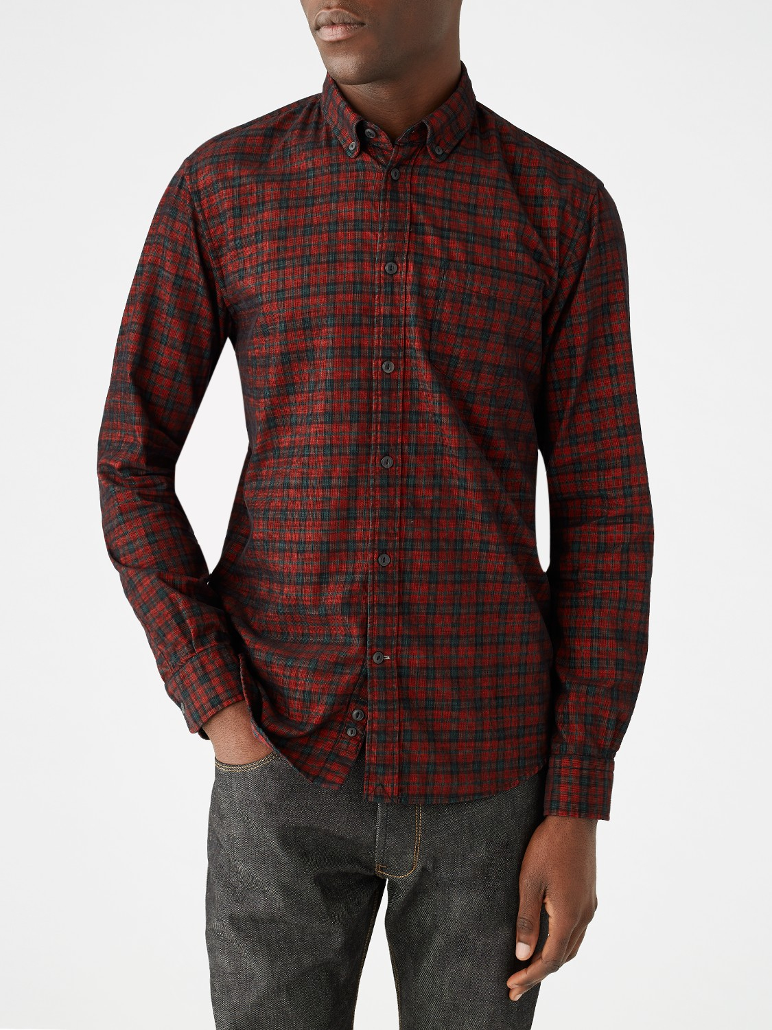 Jigsaw Check Needle Cord Slim Button Down Shirt in Red for Men