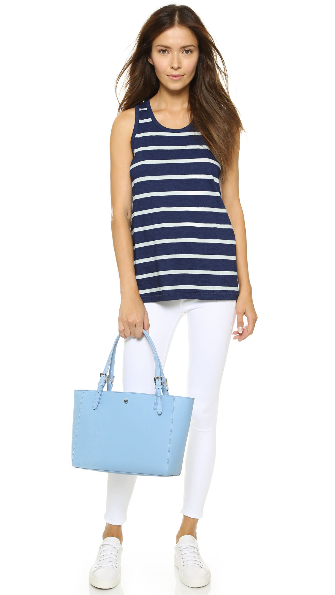 a4720e64b605 Lyst - Tory Burch York Small Buckle Tote in Blue