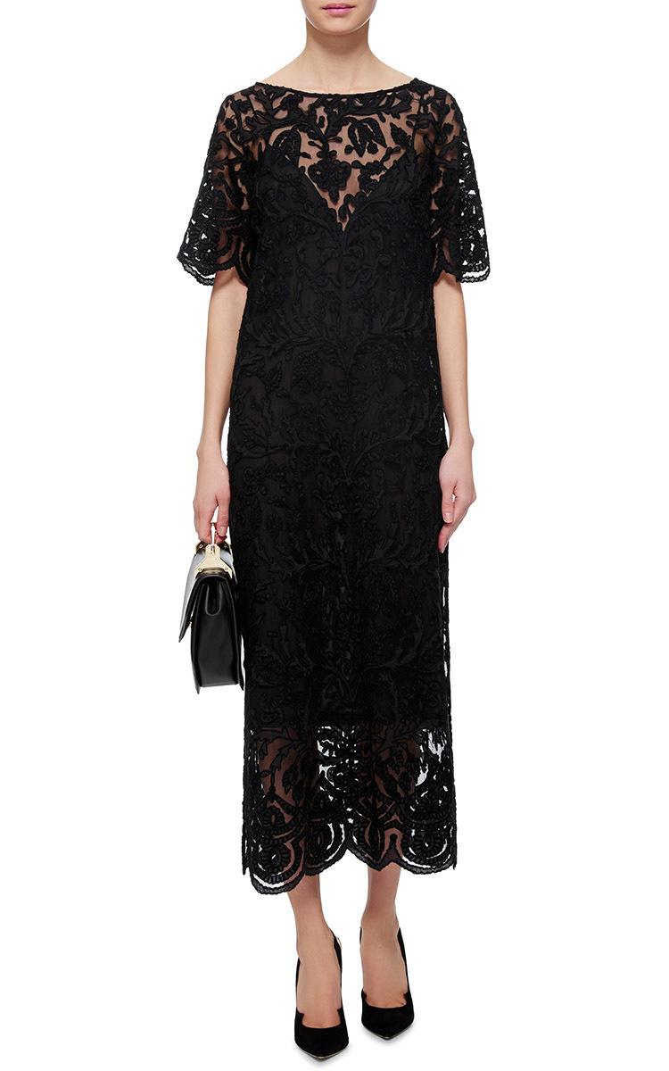 Black lace embroidered dress