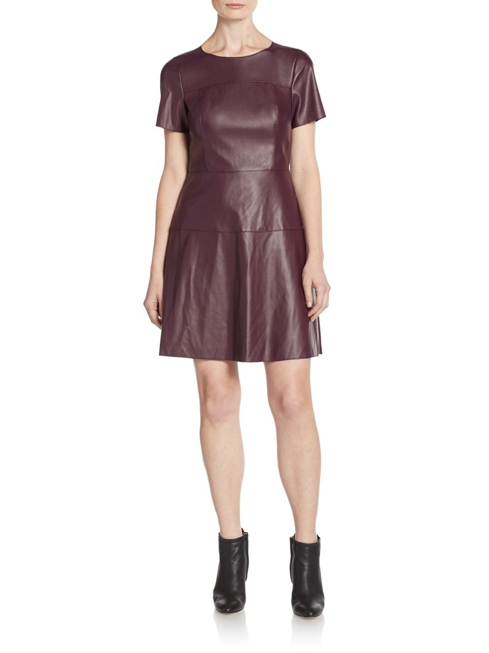 69ce3a4310d Lyst - Saks Fifth Avenue Faux Leather Paneled A-line Dress in Red