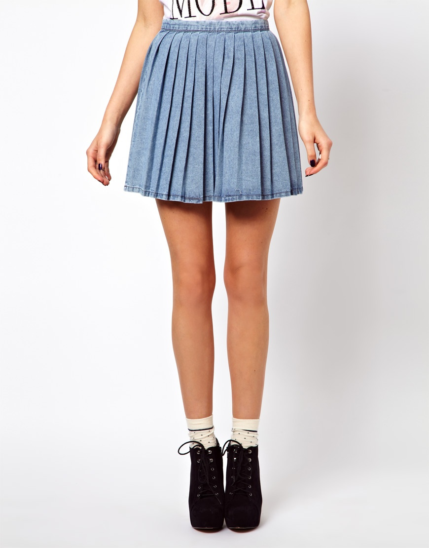 Asos Pleated Denim Mini Skirt in Blue | Lyst