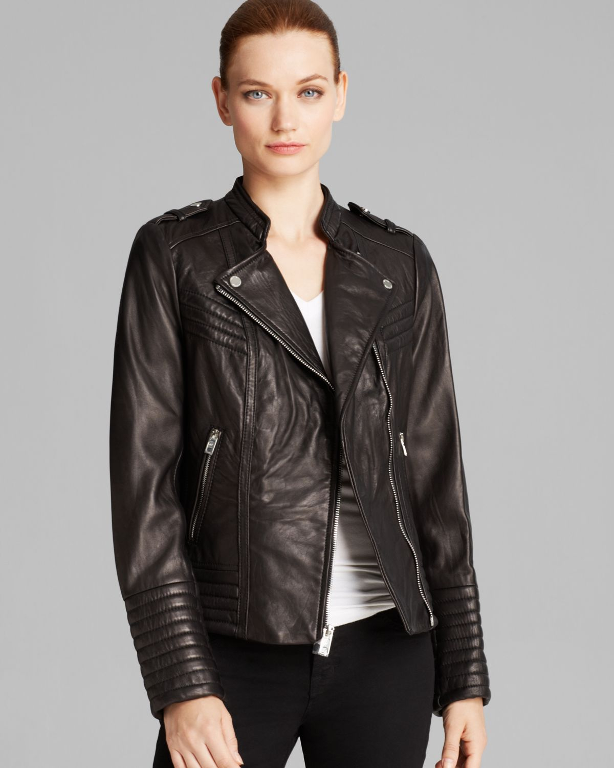 Michael michael kors Jacket - Asymmetric Moto Leather in Black | Lyst