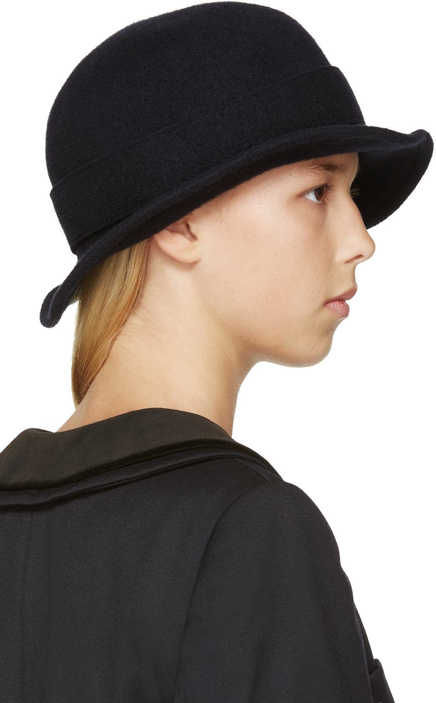 22ab6183d Comme des Garçons Navy Short Brim Hat in Blue - Lyst