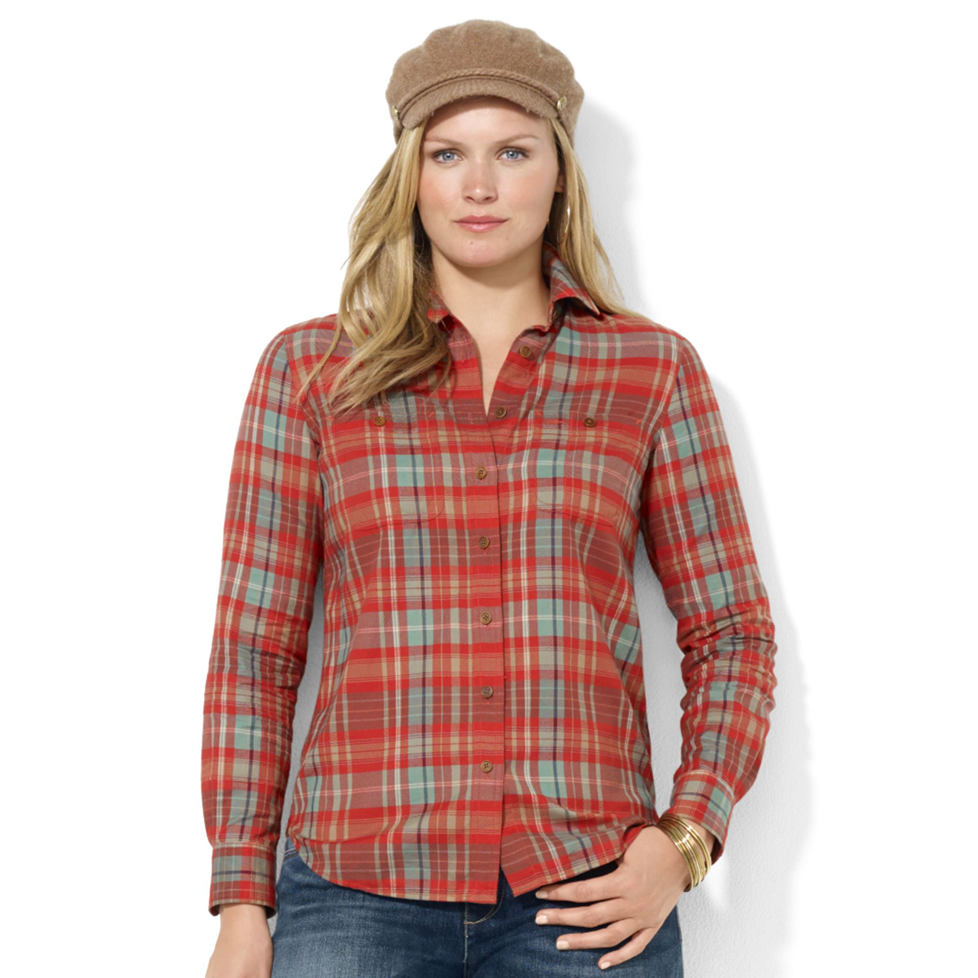bed631e56 Lauren by Ralph Lauren Plus Size Longsleeve Plaid Shirt in Red - Lyst