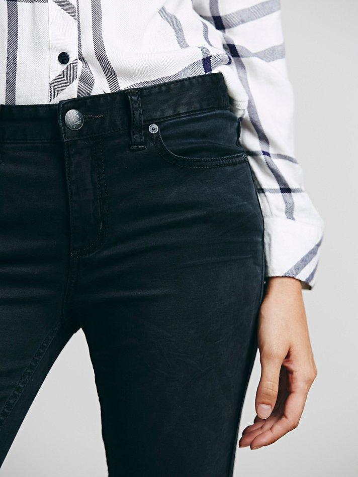 Free People Womens Sueded Sateen Zipper Back Skinny in Black
