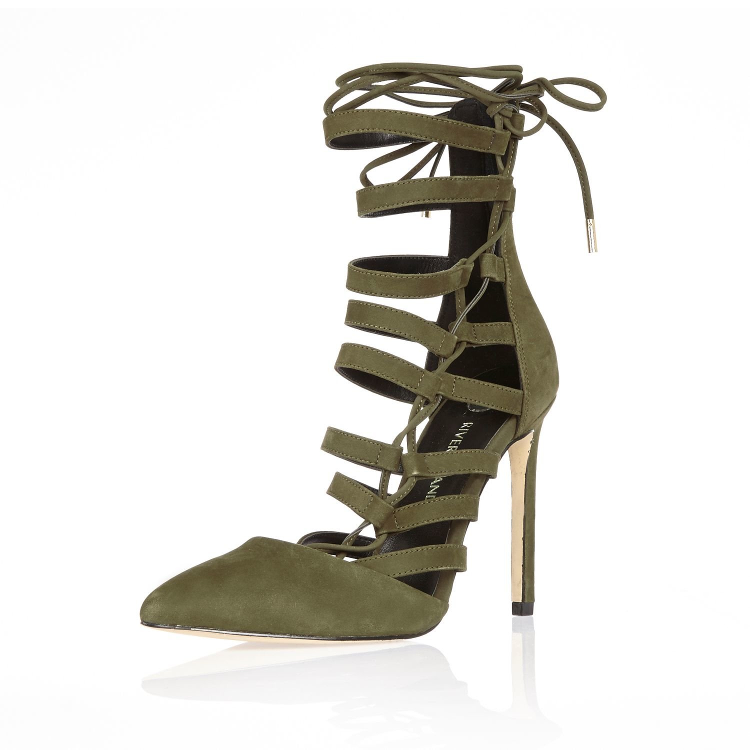 4000bfd99 River Island Khaki Leather Strappy Lace-up Heels in Natural - Lyst