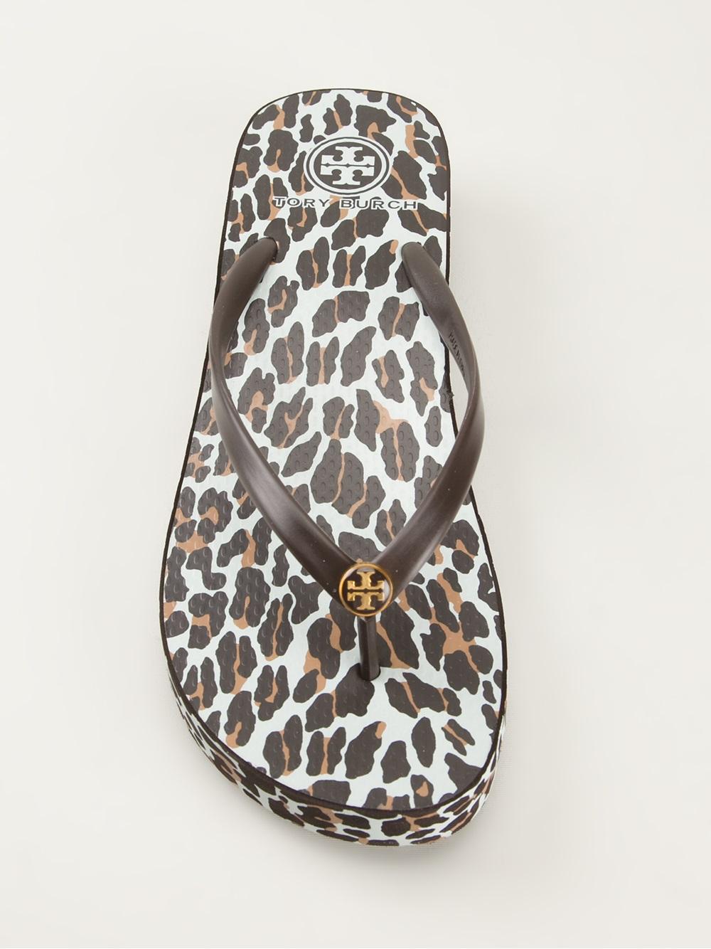 Lyst Tory Burch Leopard Print Flip Flop In Brown
