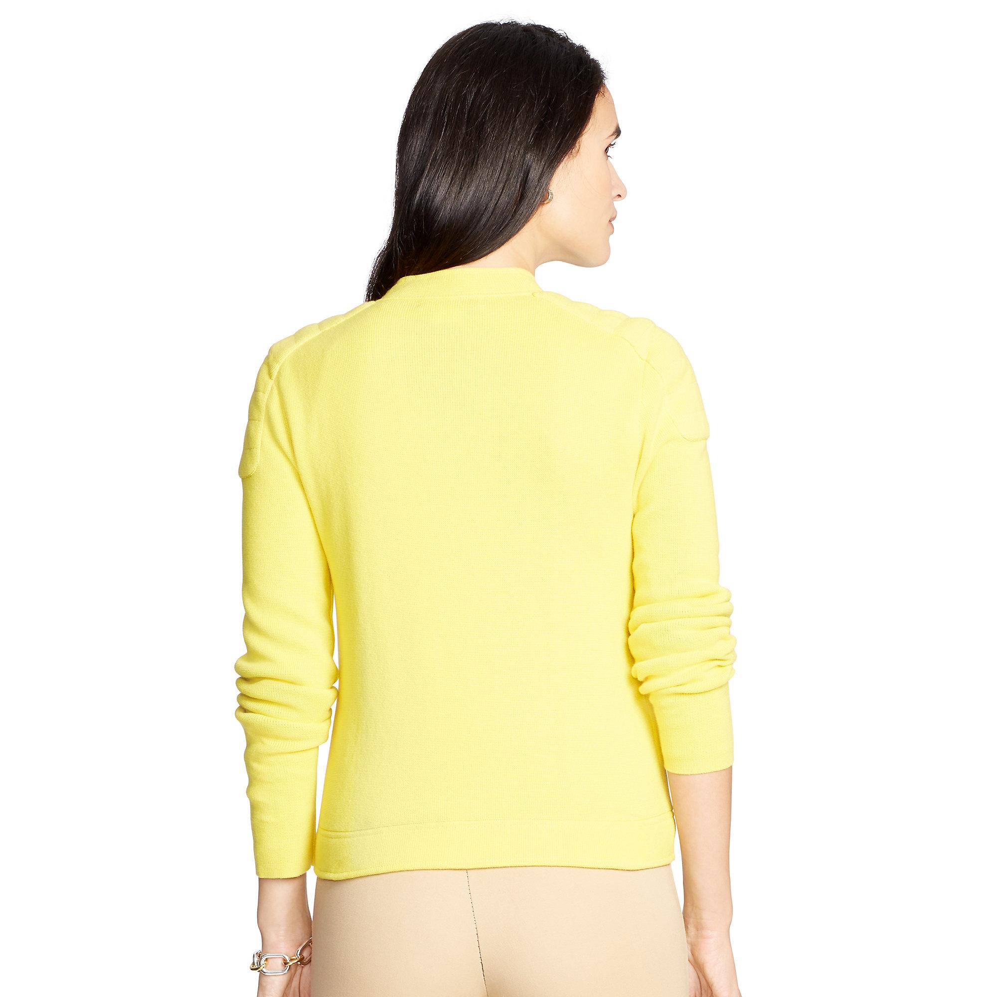 Ralph lauren Moto Cotton Full-zip Sweater in Yellow | Lyst
