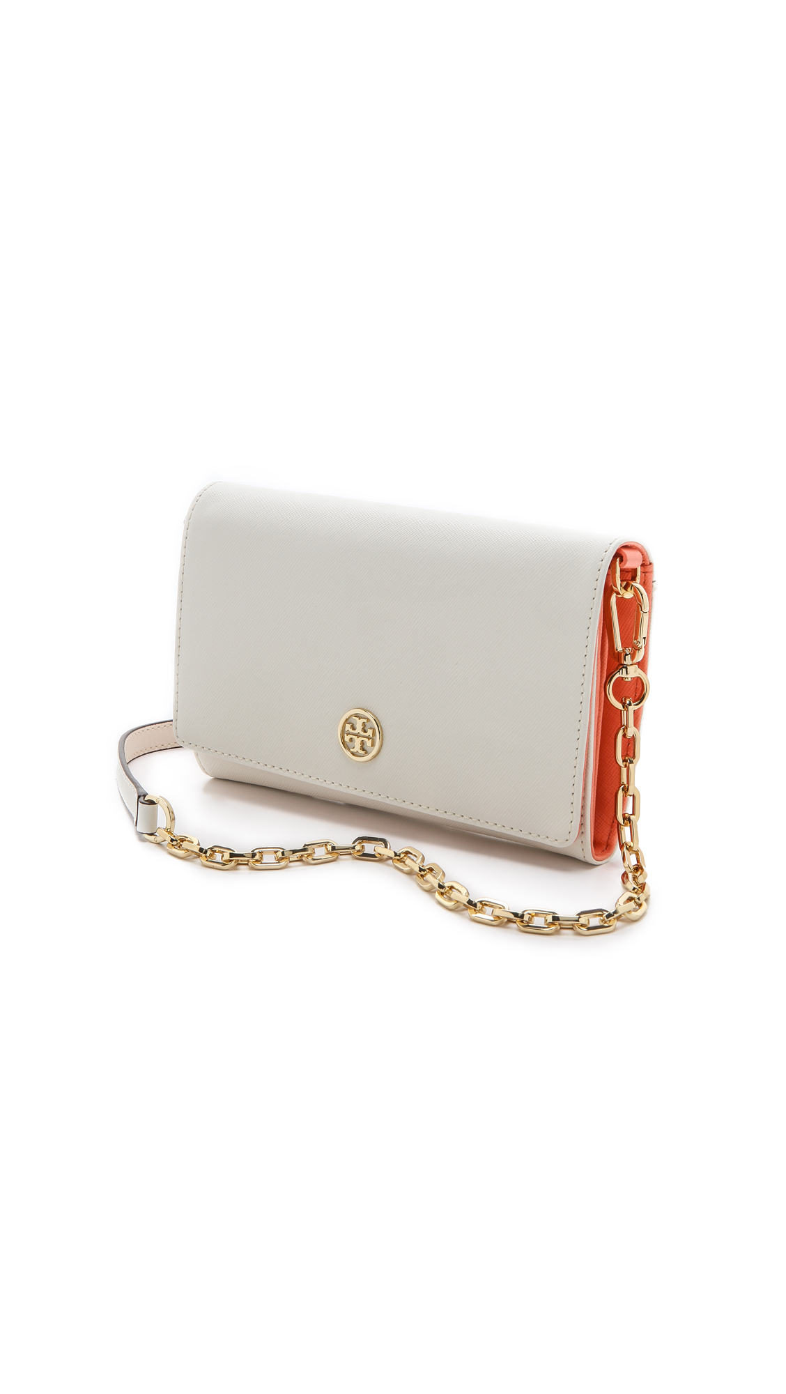 8f94cf049eea ... sale lyst tory burch robinson chain wallet in white e55d4 af722