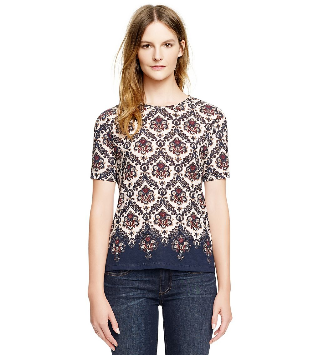 Tory burch hanna tee in multicolor tory navy damask tee a for Tory burch t shirt