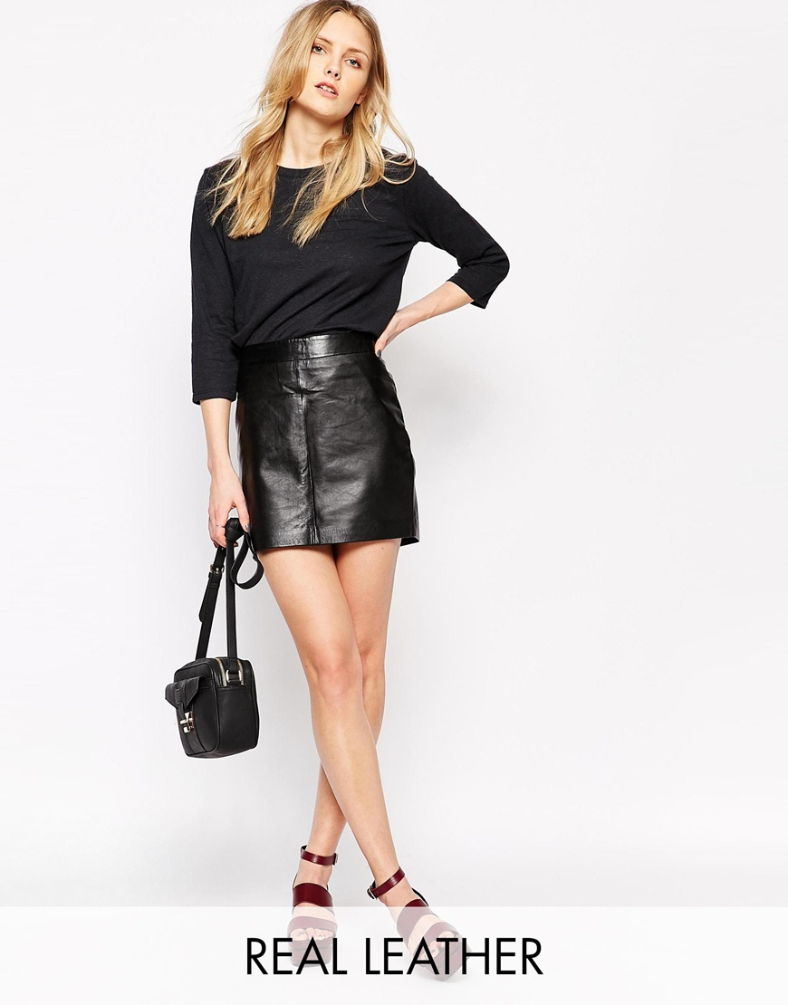 Ganni Leather Mini Skirt in Black | Lyst