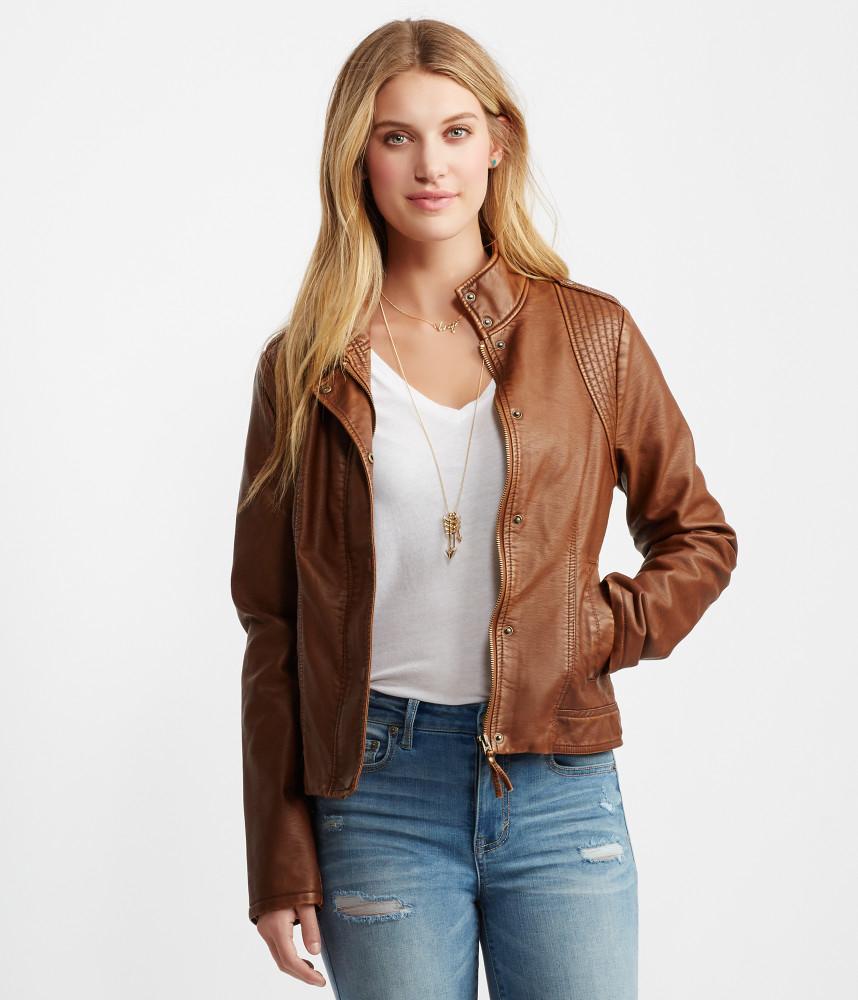 Aéropostale Vintage Faux Leather Jacket in Brown for Men | Lyst