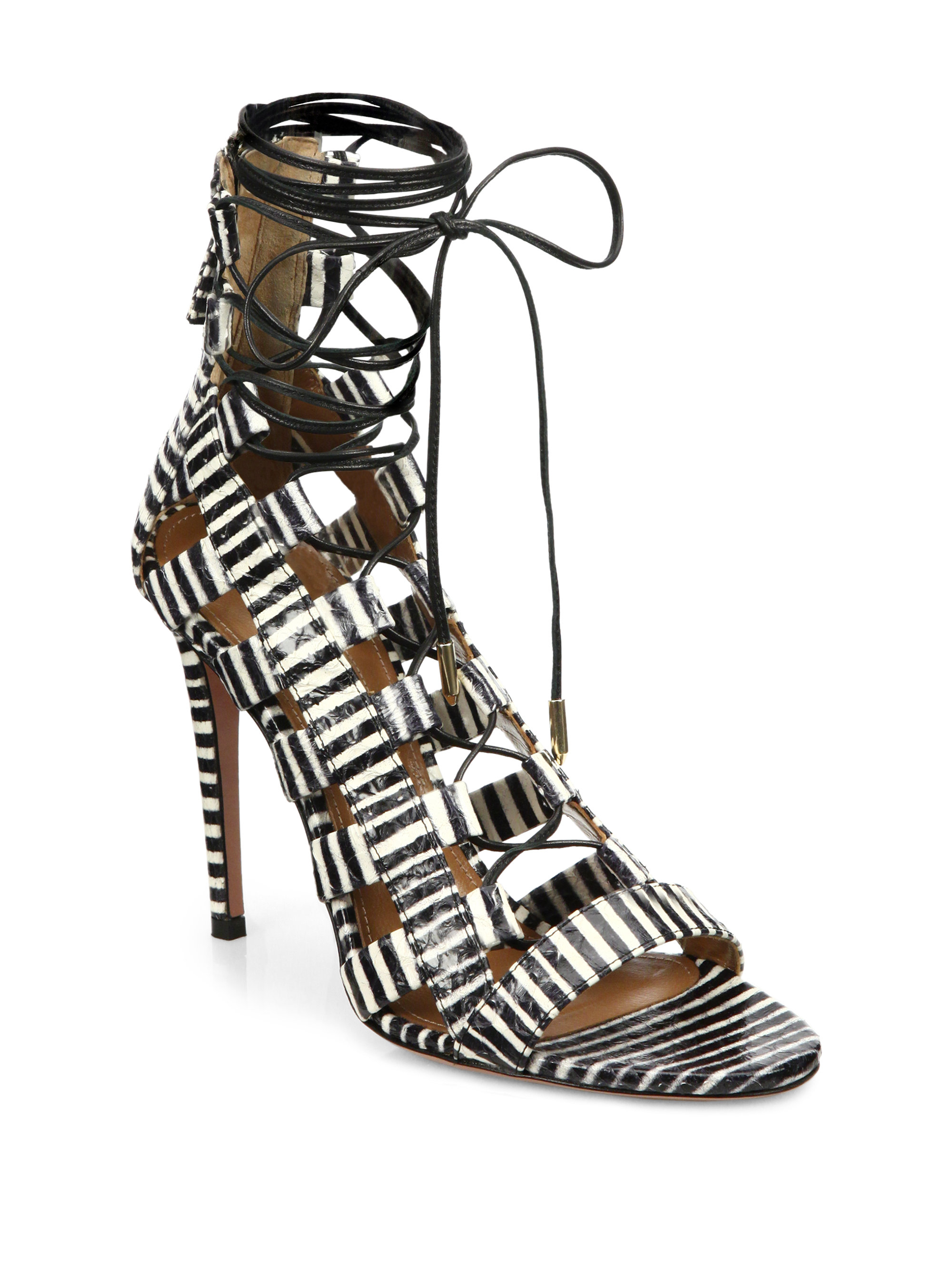 5ff0de8566e Lyst - Aquazzura Amazon Striped Leather Lace-up Sandals in Black