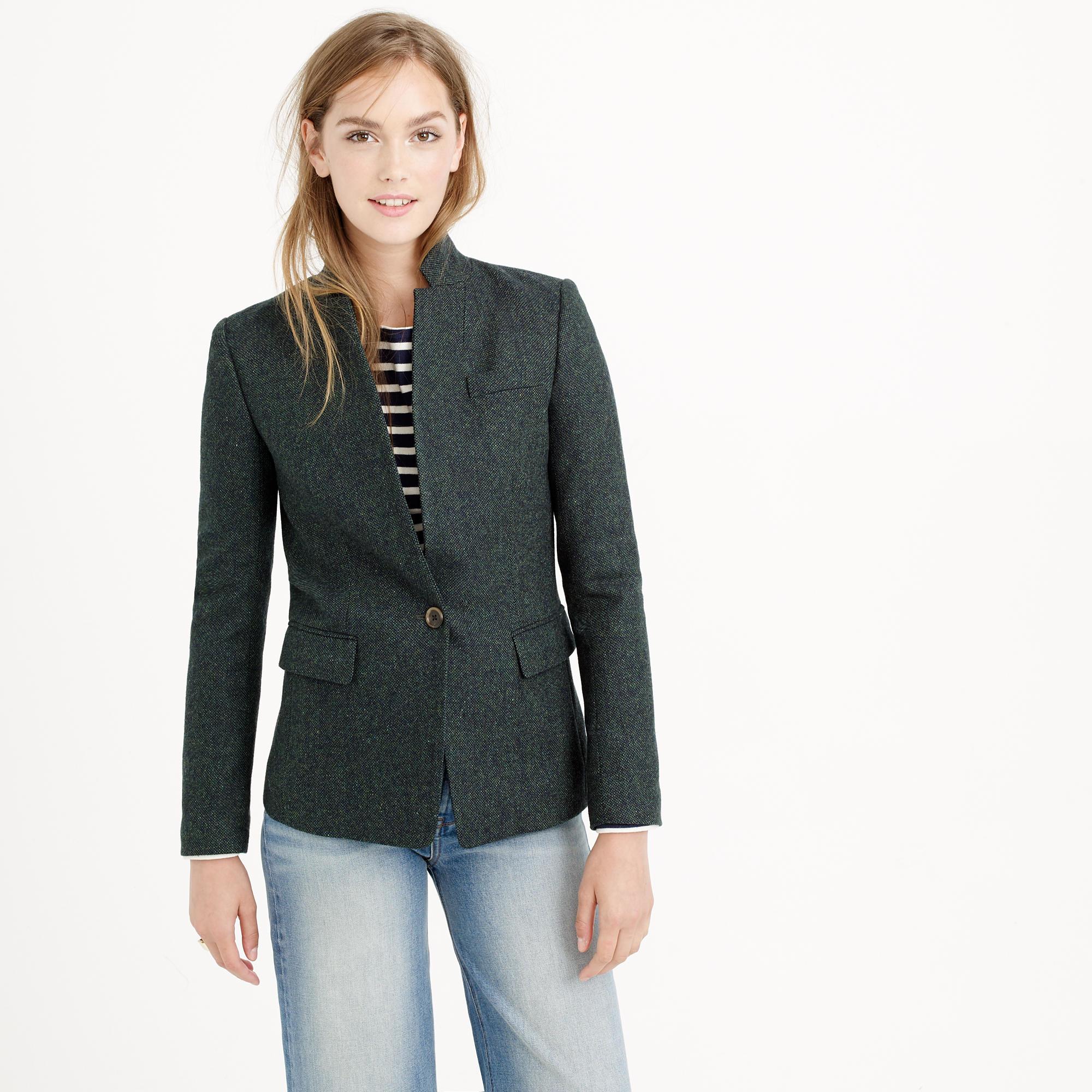Petite regent blazer in donegal wool in green lyst for Jcrew com