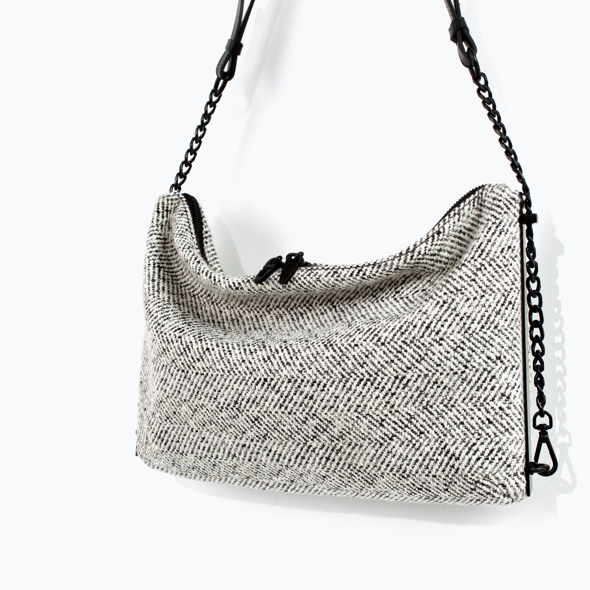 Zara Fabric Messenger Bag In Gray Multicolour Lyst
