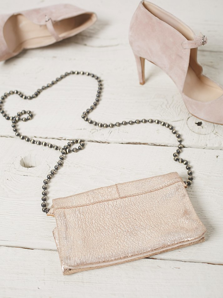 Free People Leather Duet Crossbody in Rose Gold (Pink)