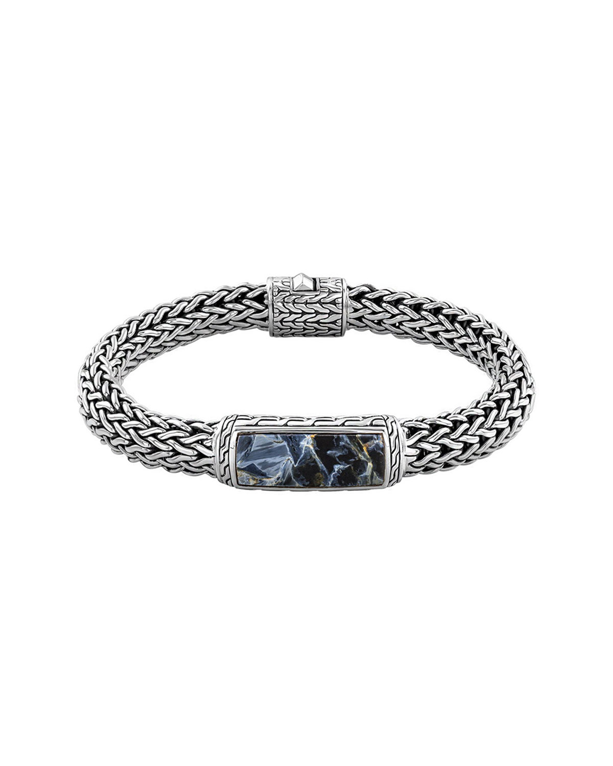John Hardy Mens Batu Classic Chain Silver And Blue
