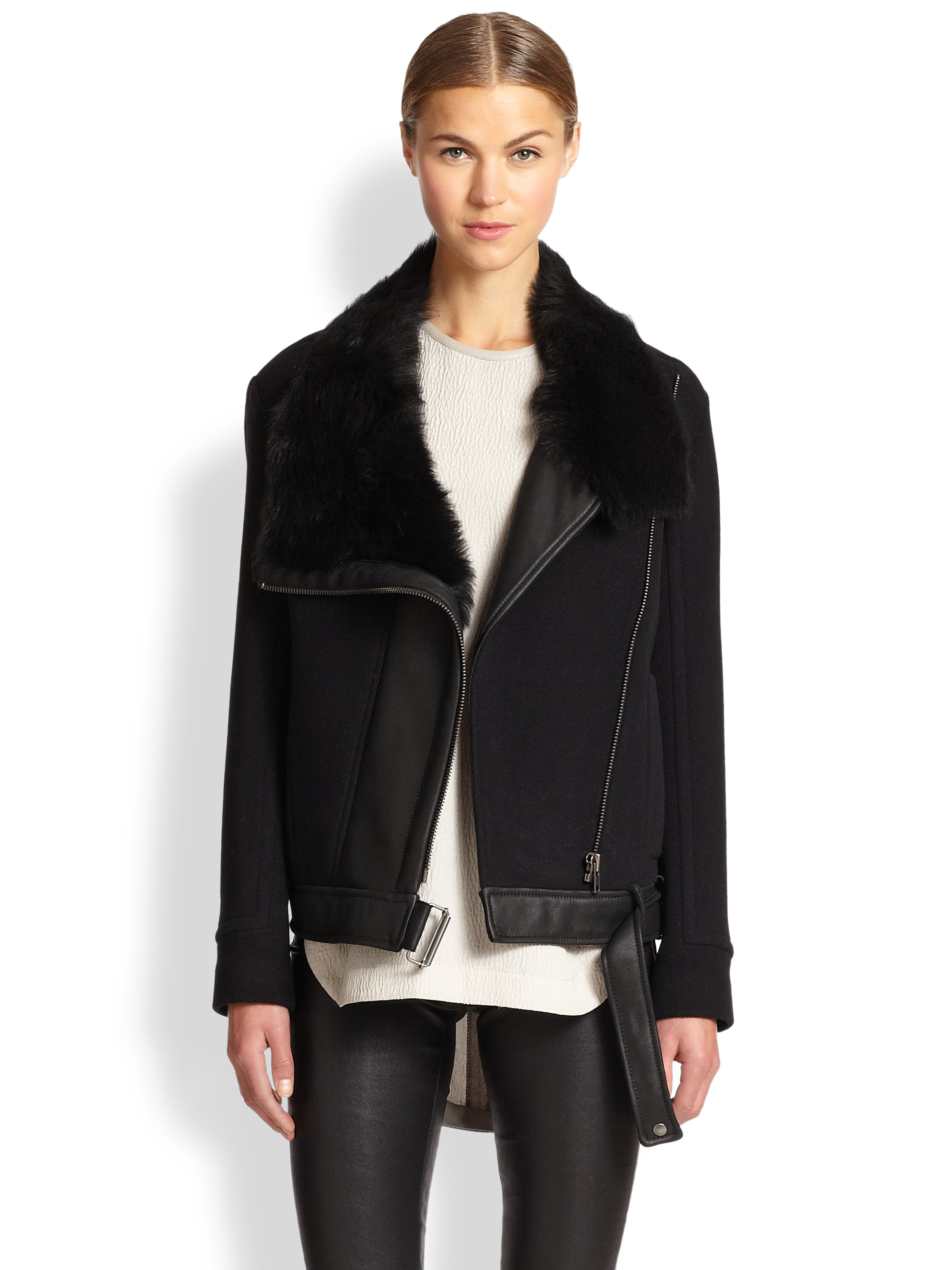 Helmut lang Inclusion Leather/lamb Shearling Jacket in Black | Lyst