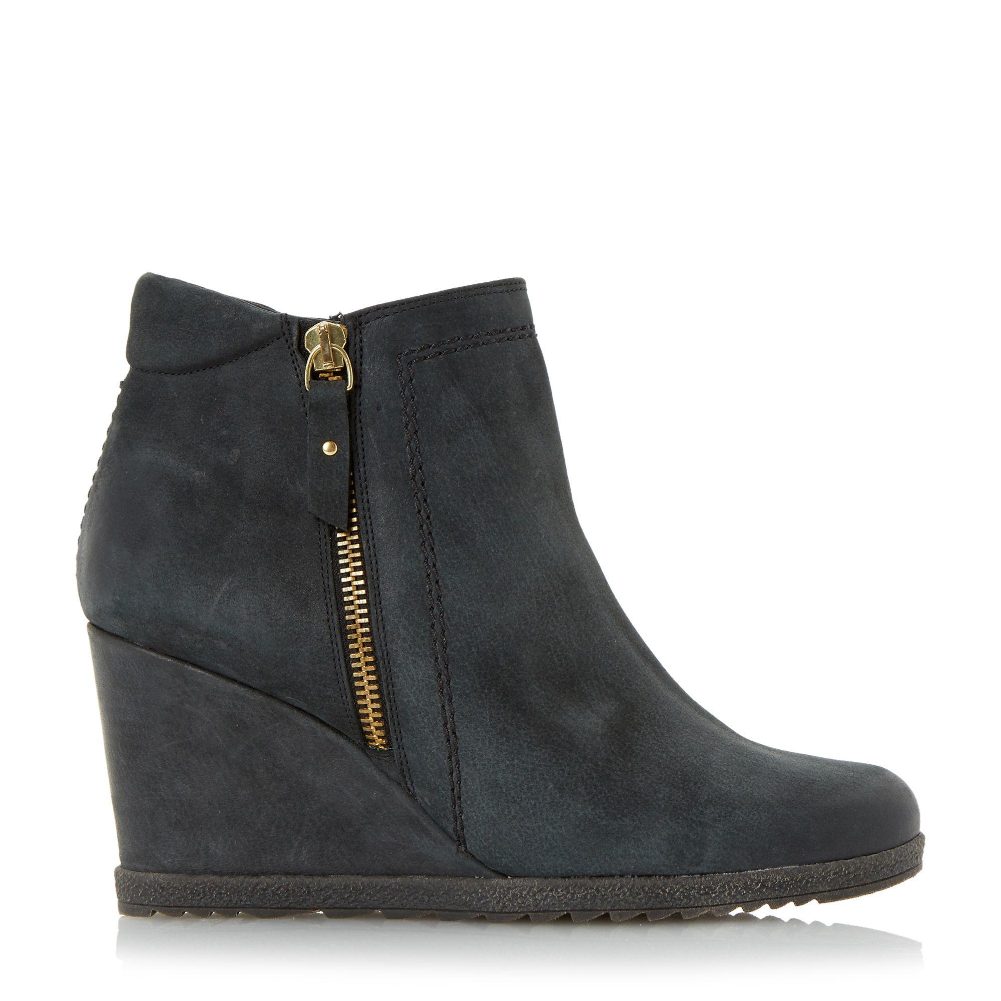dune pacino zip detail wedge boots in black lyst