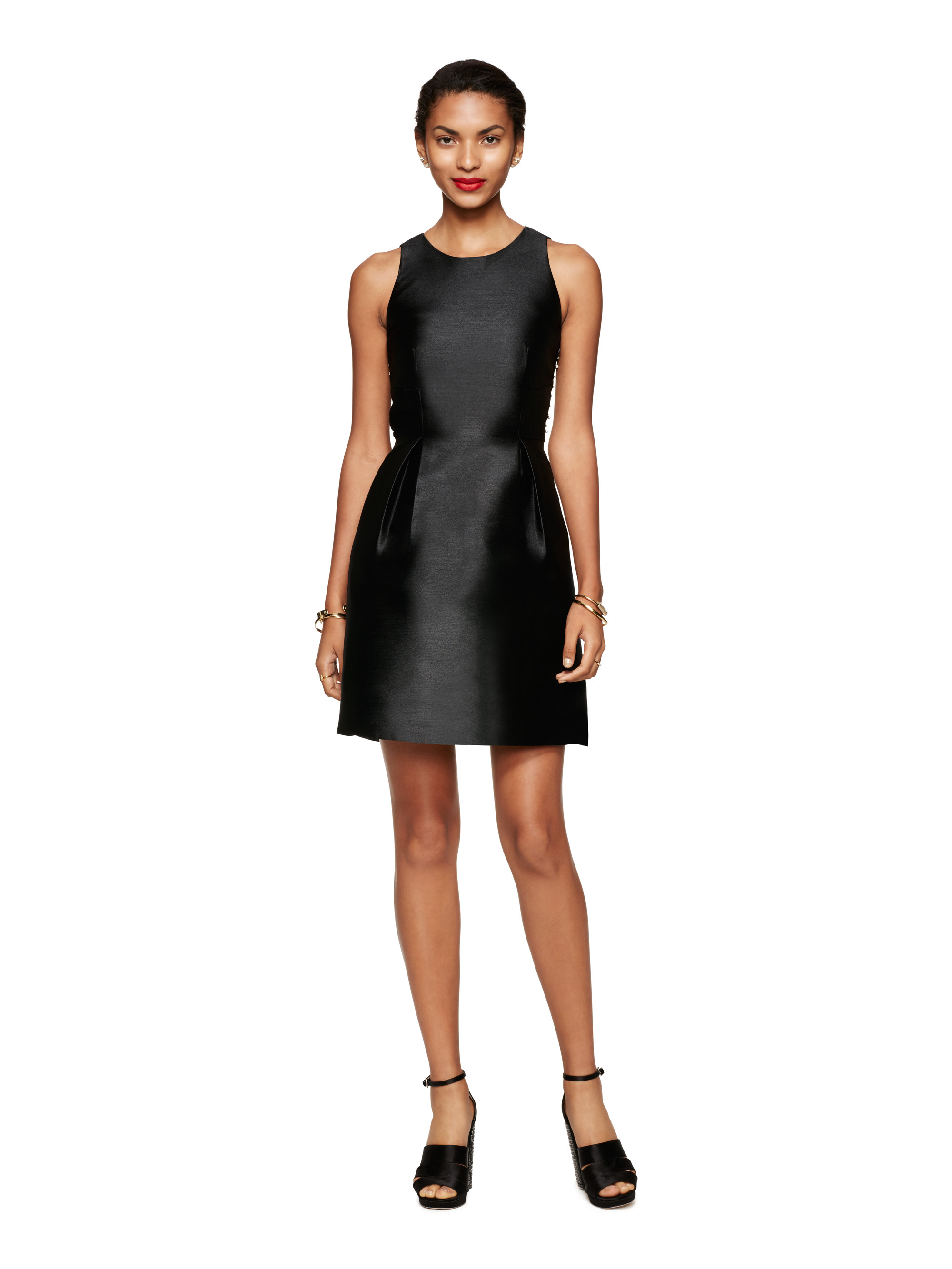 Kate Spade Synthetic Embellished Bow Back Dress In Black