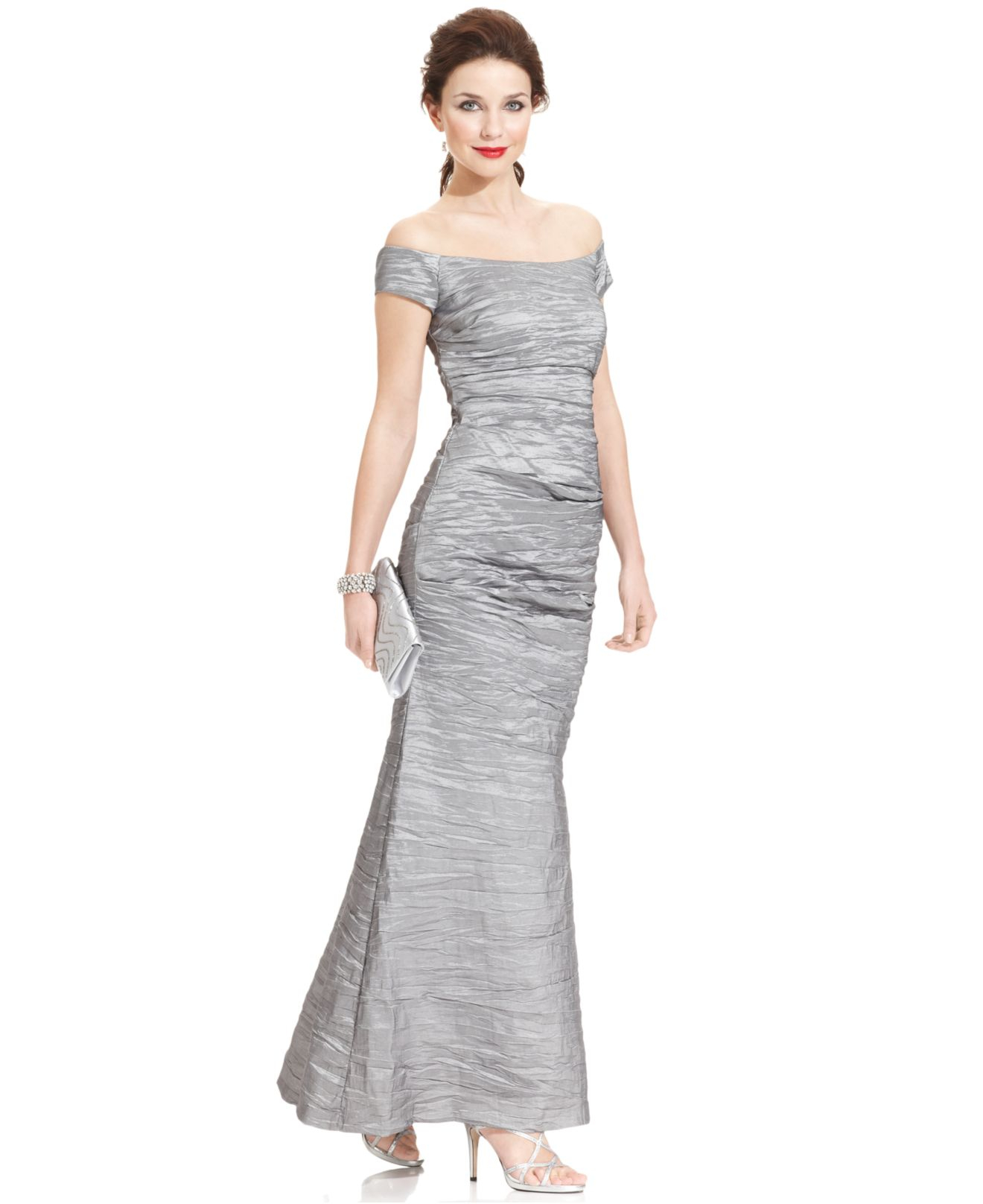 Alex evenings Dress, Off The Shoulder Taffeta Crinkle Gown in ...