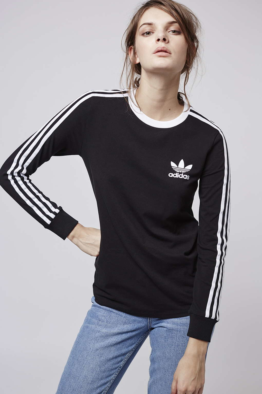 6b0b3f8f72a Adidas Originals Womens 3 Stripes Long Sleeve T Shirt
