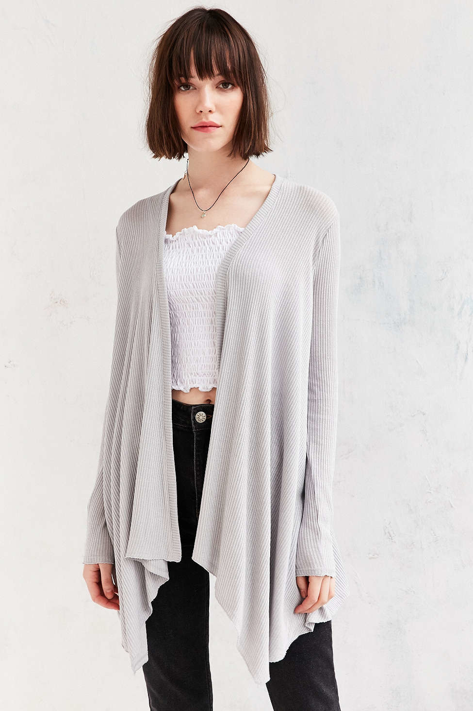 Kimchi blue Emmie Waterfall Cardigan in Gray | Lyst