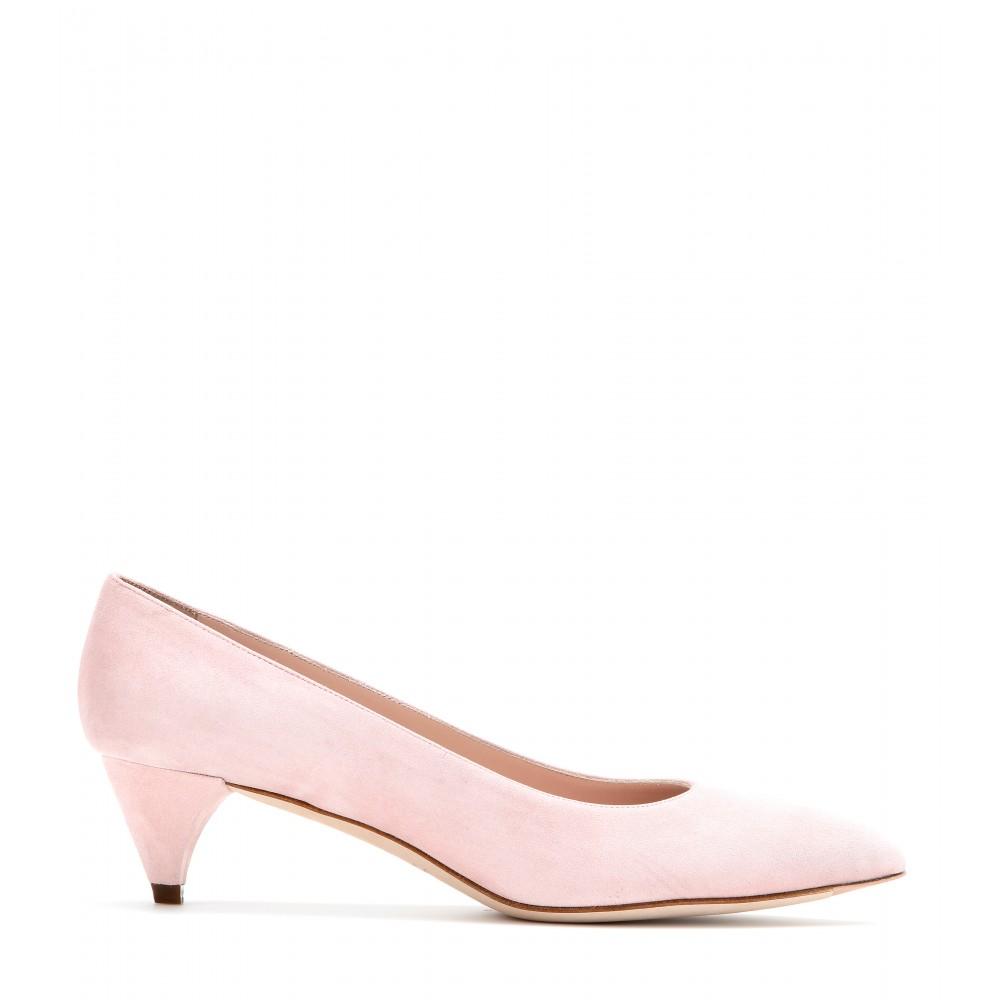 7eaba13b43d Miu Miu Pink Suede Kitten-Heel Pumps