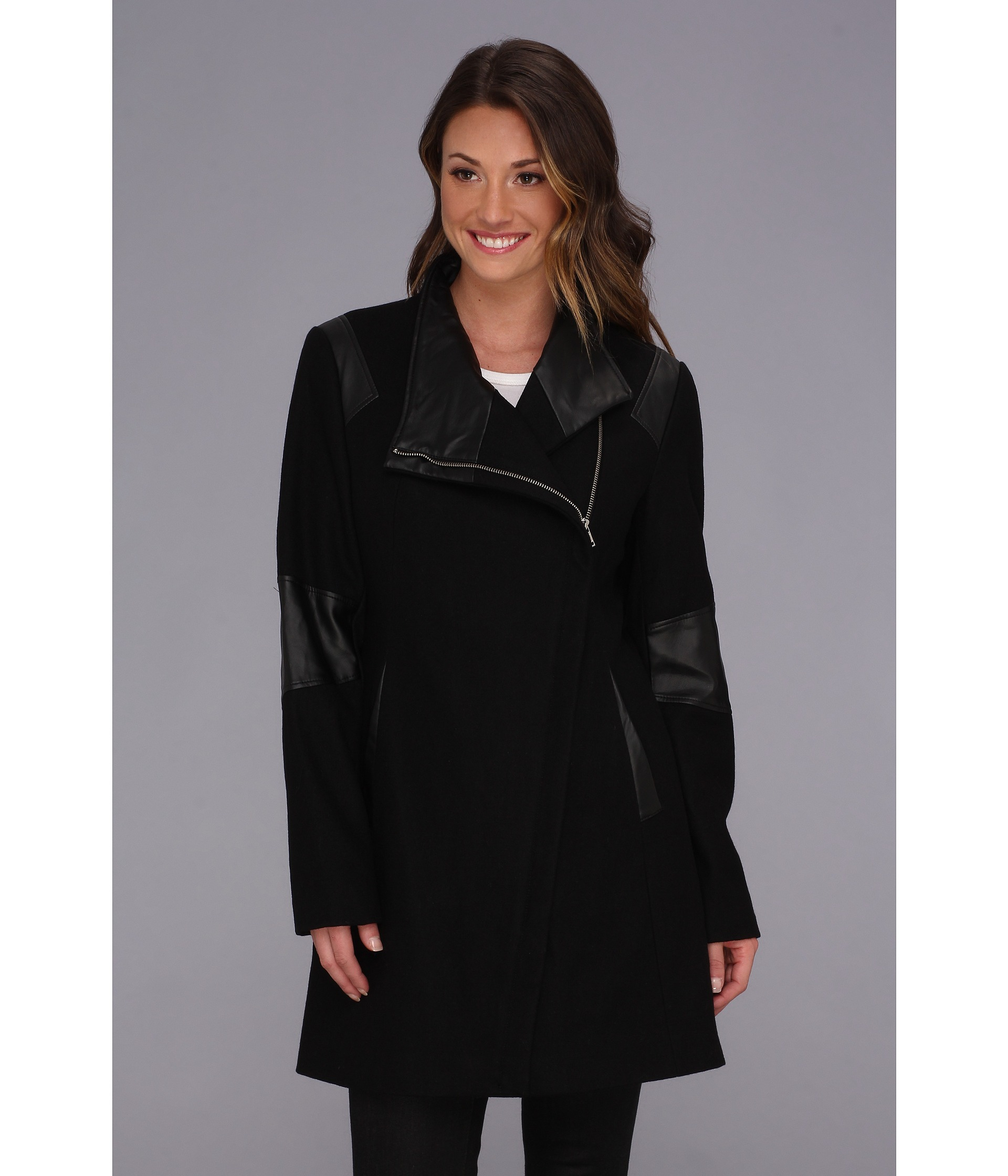 Calvin klein Asymmetrical Coat W Faux Leather Trim in Black | Lyst