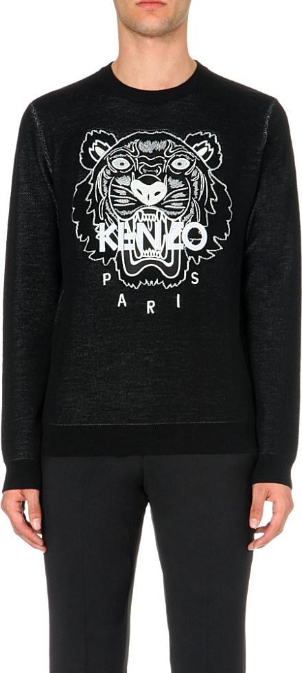Lyst - KENZO Tiger-print Cotton Jumper in Black for Men f3655de5e