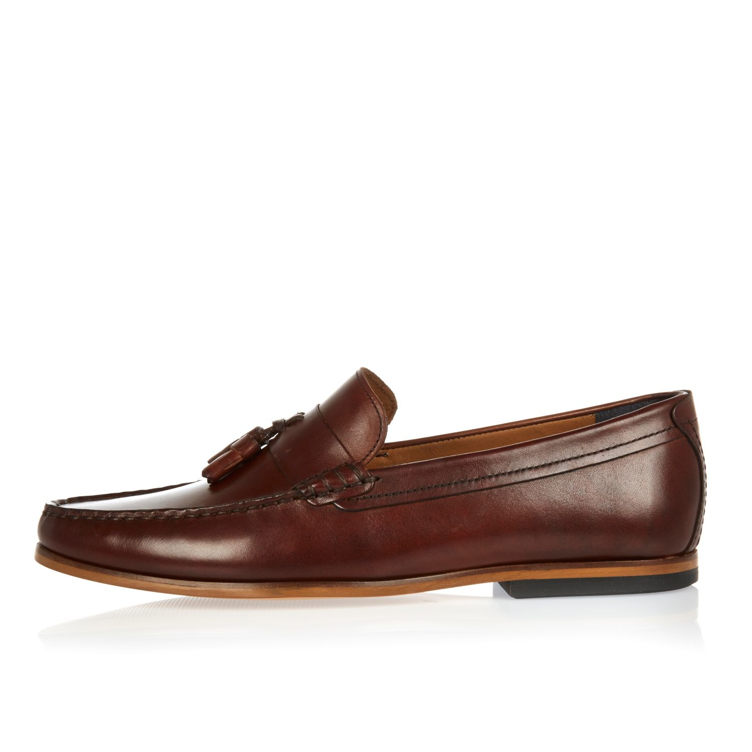 River Island Dark Brown Leather Tassel Loafers In