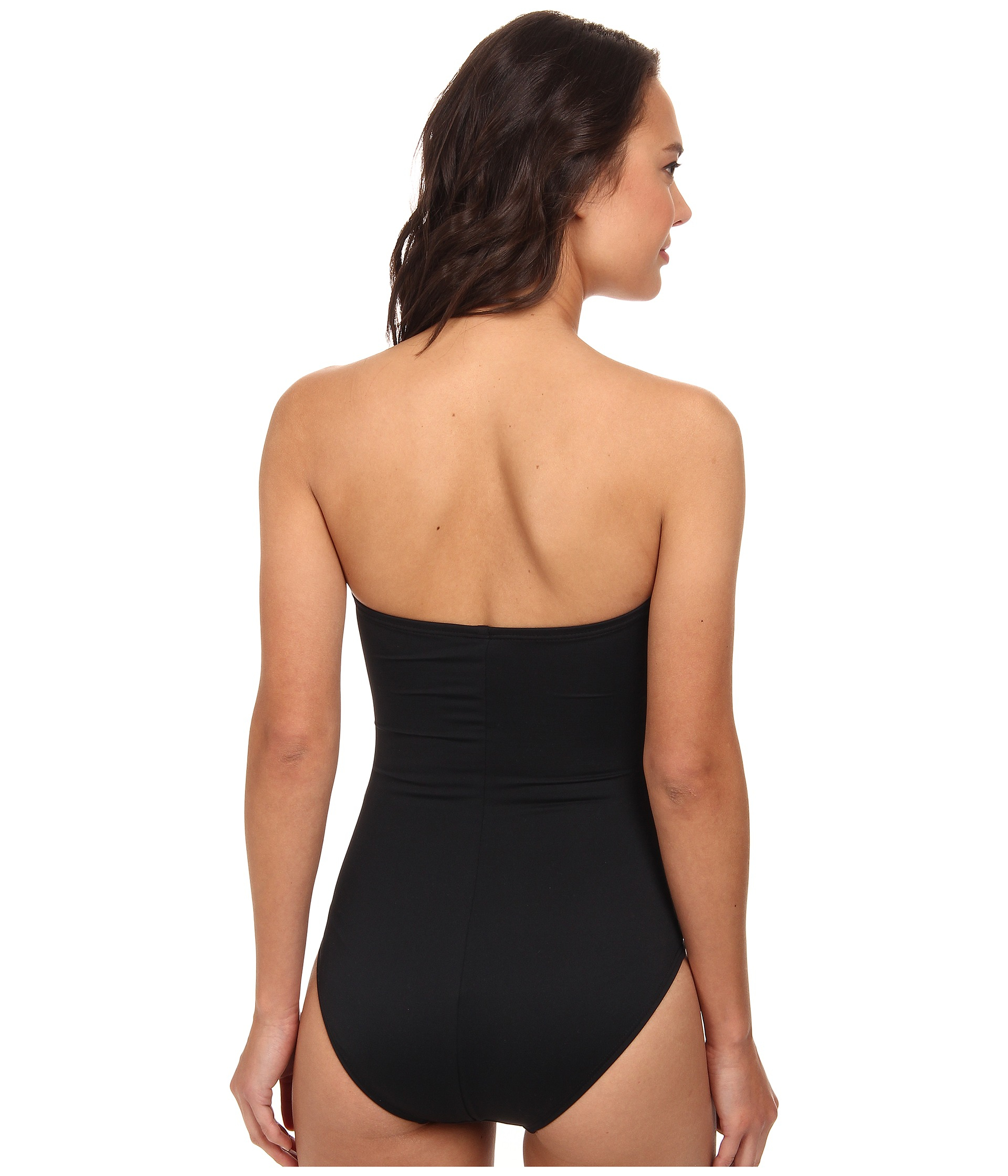 dkny shirred classic bandeau maillot one piece in black lyst. Black Bedroom Furniture Sets. Home Design Ideas