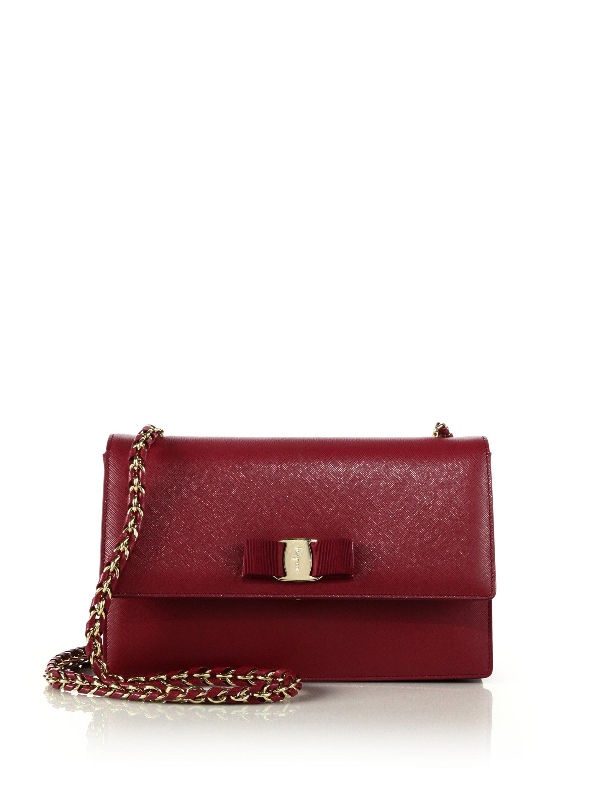 Lyst - Ferragamo Vara Ginny Saffiano Leather Crossbody Bag in Red 8b25f57f8896c