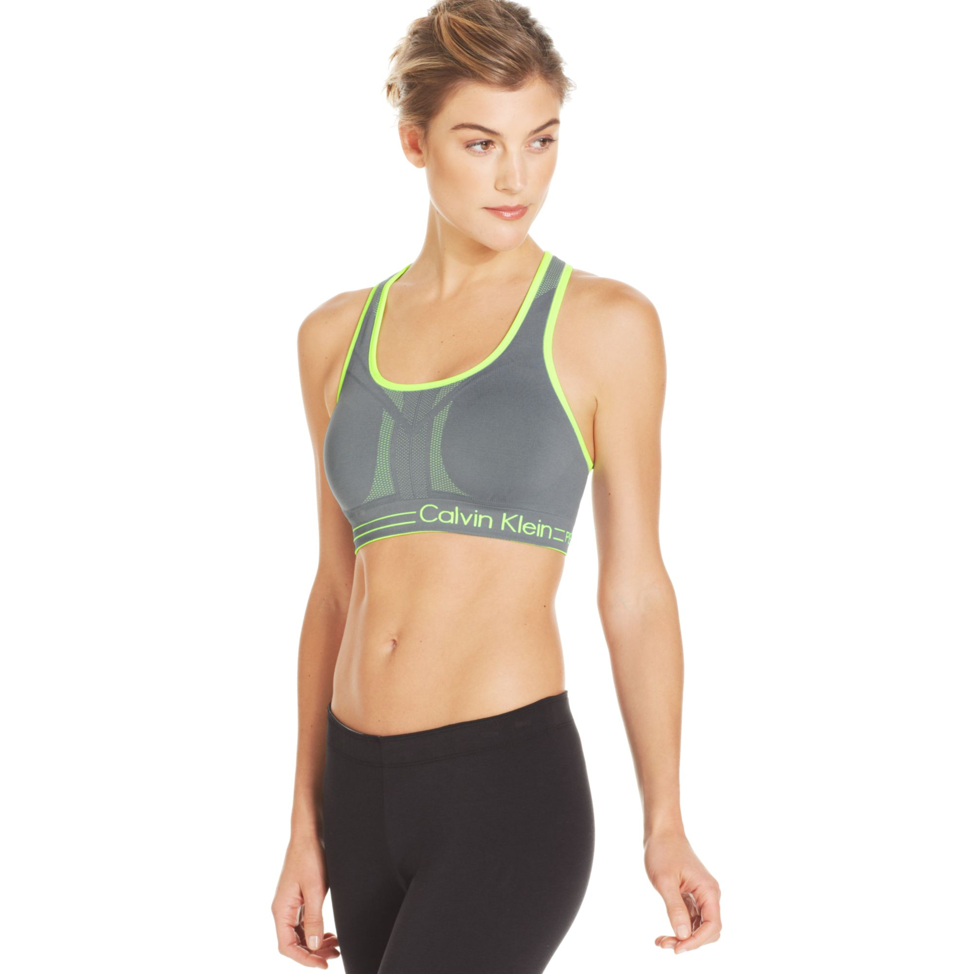 8043cc4d9a876 Lyst - Calvin Klein Performance Reversible Racerback Sports Bra in ...