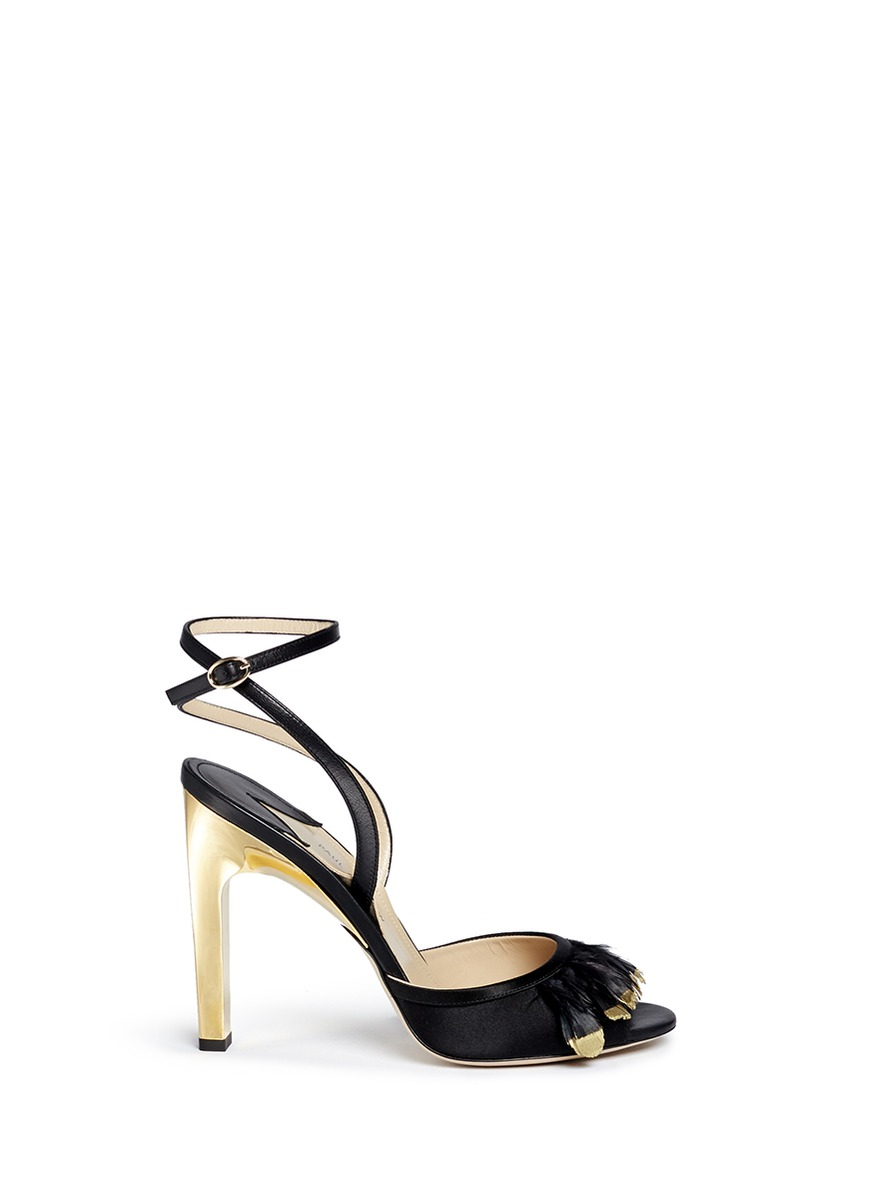 8ffecb7fc7e Lyst - Paul Andrew  piume  24k Gold Dipped Heel Feather Satin ...