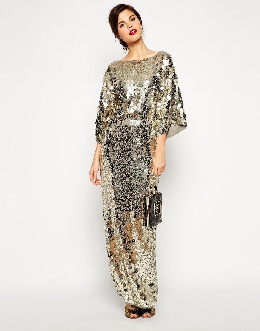 Lyst Asos Red Carpet Premium All Over Sequin Kimono Maxi