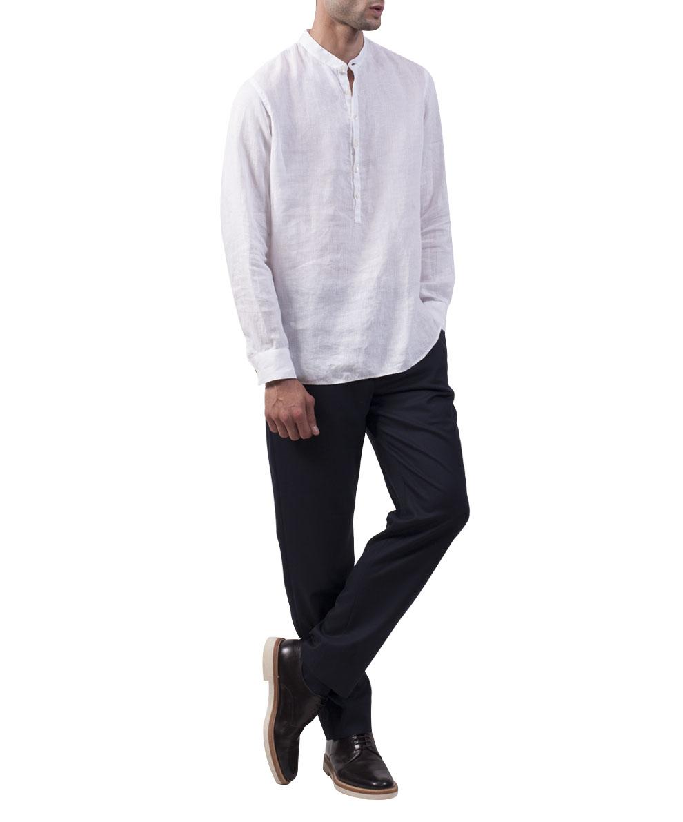 Lyst giorgio armani white linen shirt in white for men for White linen dress shirt