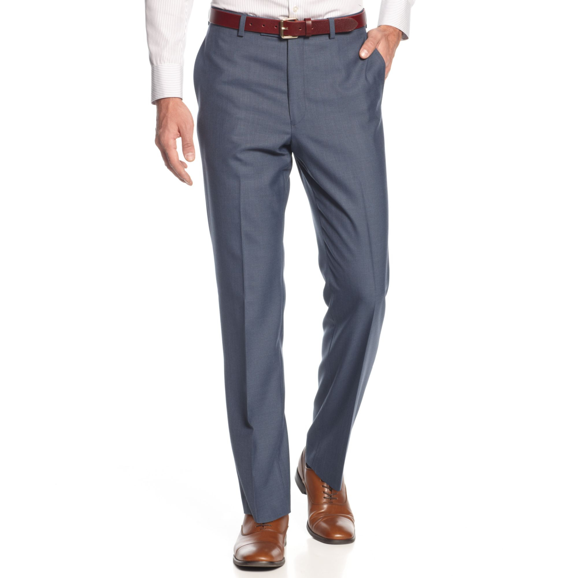 Calvin Klein Blue Sharkskin Dress Pants Slim Fit For Men
