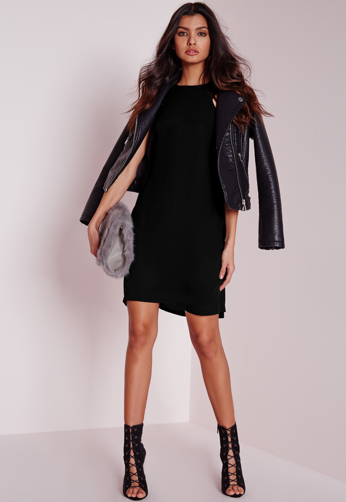 Missguided Tall Crepe A Line Shift Dress Black In Black Lyst