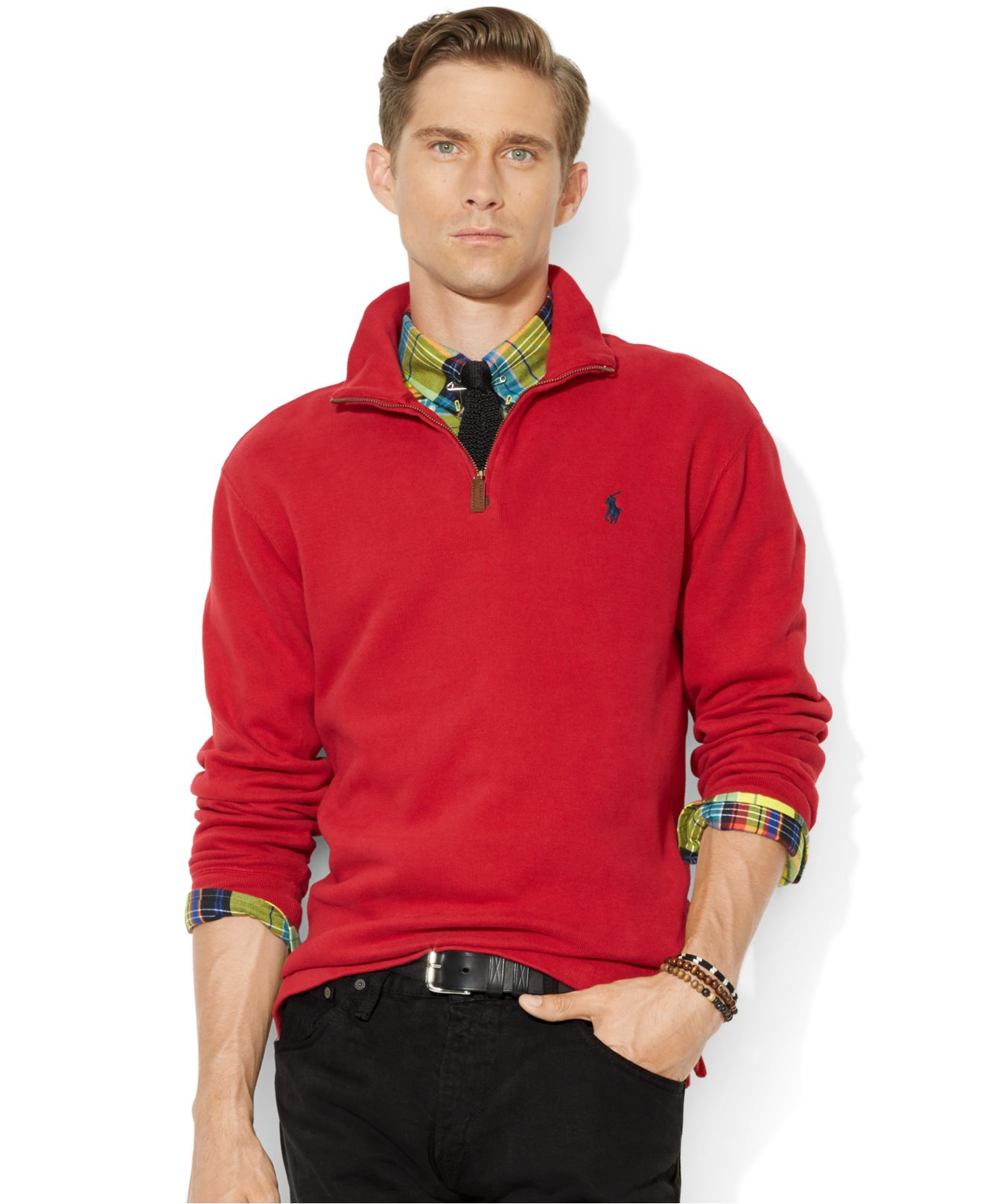 Polo ralph lauren French-Rib Half-Zip Pullover Sweater in Red for ...